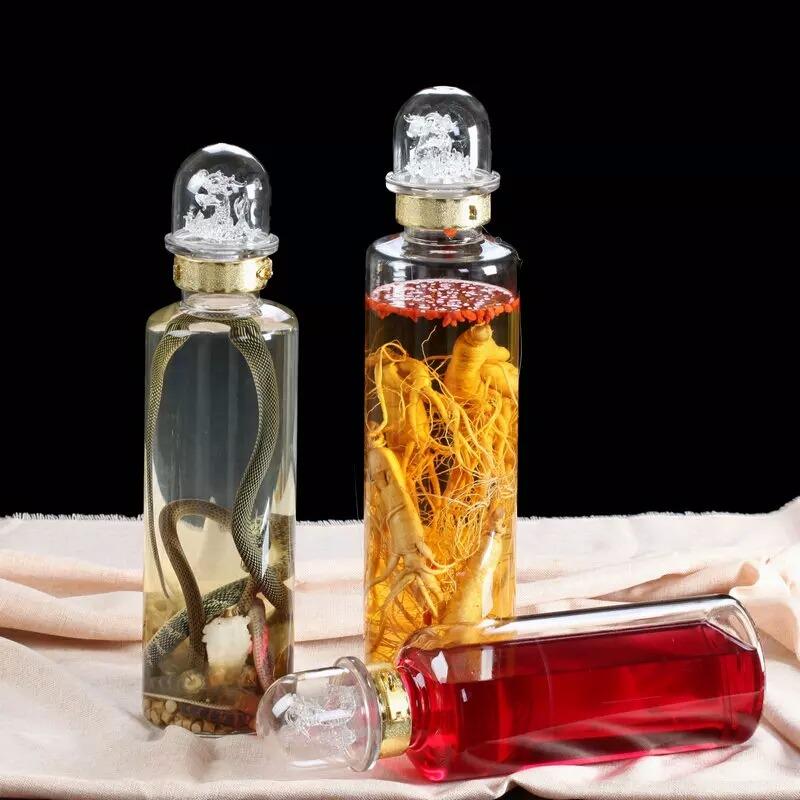人参玻璃瓶 药材泡酒酒瓶  手工艺吹制酒瓶 酒瓶定制加工 鹿茸泡酒瓶  私人订制瓶
