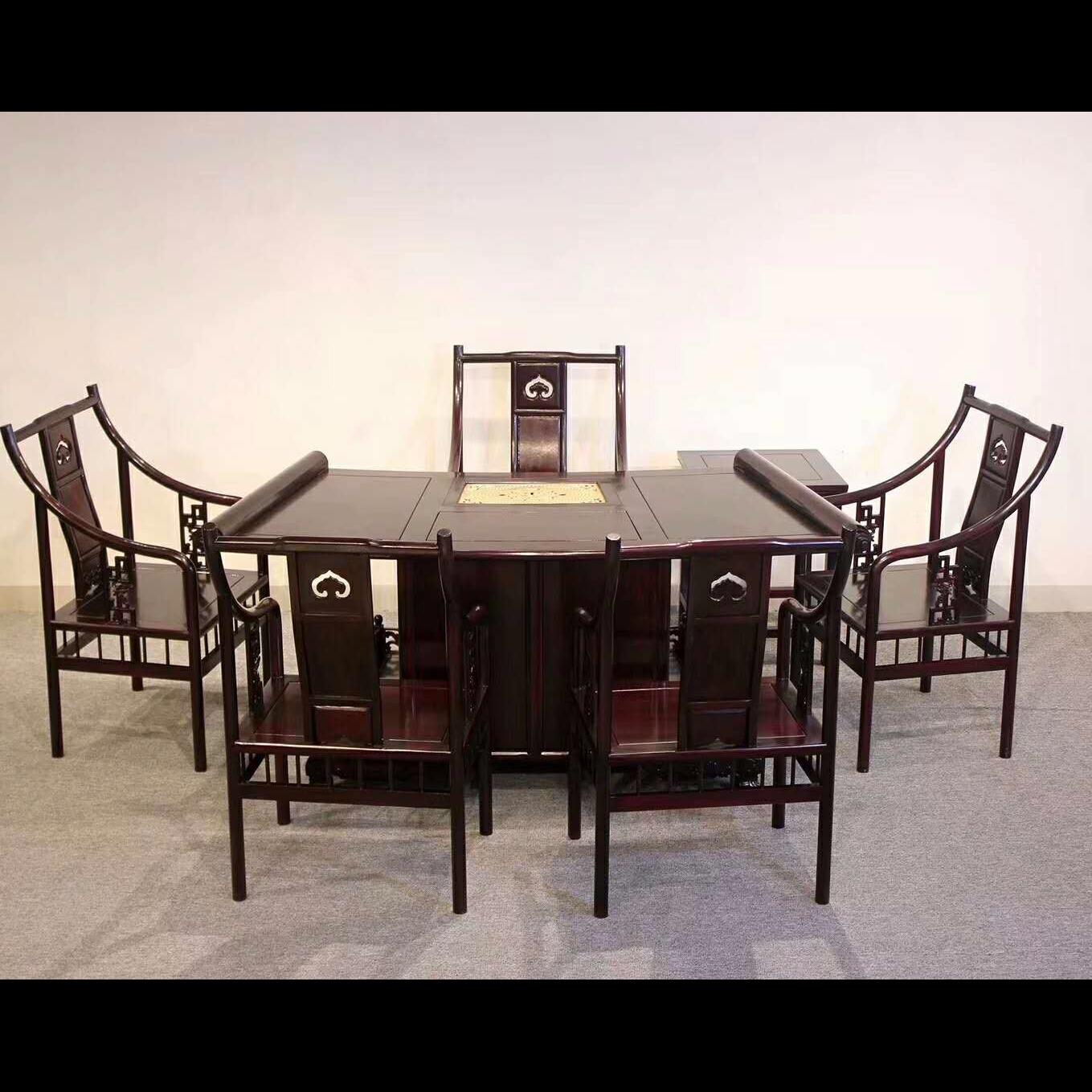 赞比亚血檀,腰型茶桌,七件套,血檀家具,红木家具,古典家具,高档红木家具