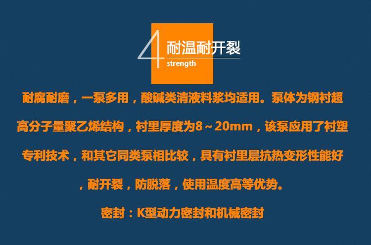 耐腐耐磨砂漿泵,80UHB-ZK60耐酸堿防腐蝕泵,雜質漿液污水泵,脫硫離心化工泵,壓濾機泵示例圖16