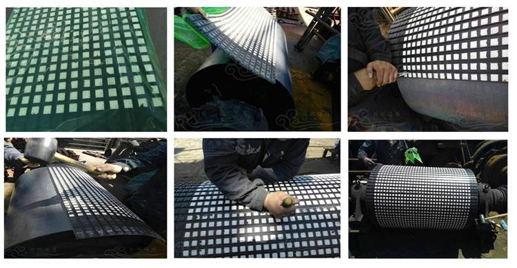 洛阳瑞塔橡胶丨宽500mm带半硫化层陶瓷胶板丨陶瓷包胶现场施工示例图11