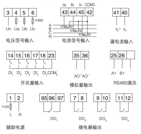 线路保护装置    低压馈线保护   安科瑞ALP200-400  开孔91x44 零序断相不平衡保护 测量控制通讯一体示例图15