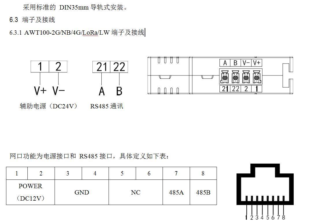 NB多功能物联网无线数据通讯终端 安科瑞AWT100-NB 上行NB-IOT通讯下行 RS485示例图6