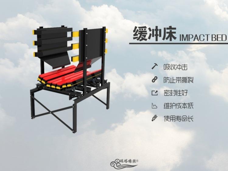 缓冲床在带式输送机上的应用 防物料洒落缓冲床示例图4