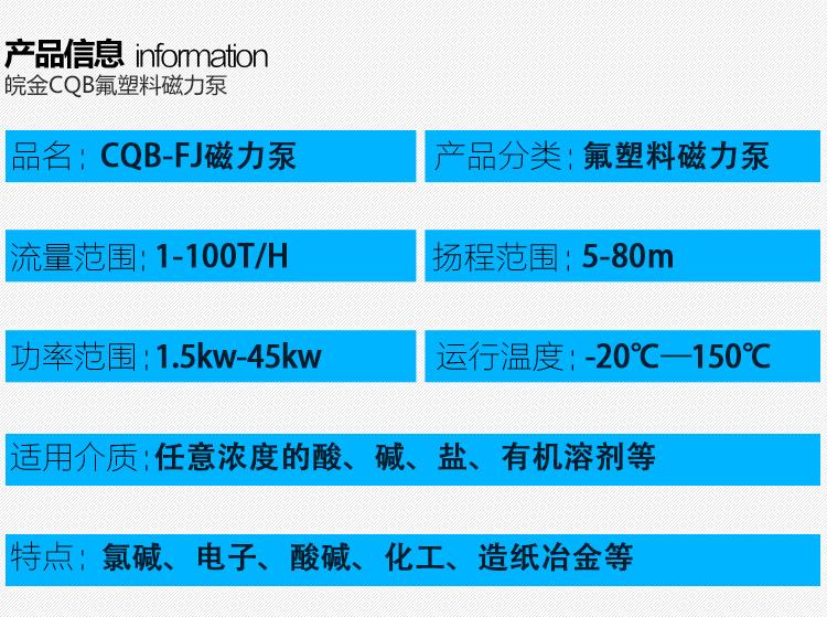 CQB-FJ氟塑料磁力泵,防腐蝕耐酸堿磁力驅動泵,襯氟高溫磁力泵,磁力離心泵示例圖4
