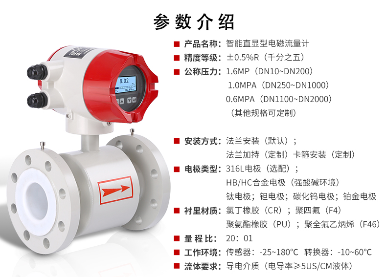 电磁流量计厂家型号 一体式智能电磁流量计 电磁流量计价格   液体 DN50 DN100示例图6