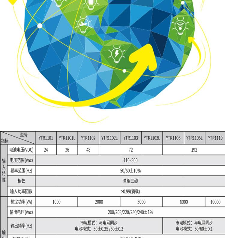 科华YTR1110 UPS不间断电源 10KVA/8KW 在线式高频电源长机外接蓄电池 科华UPS电源YTR1110长示例图2
