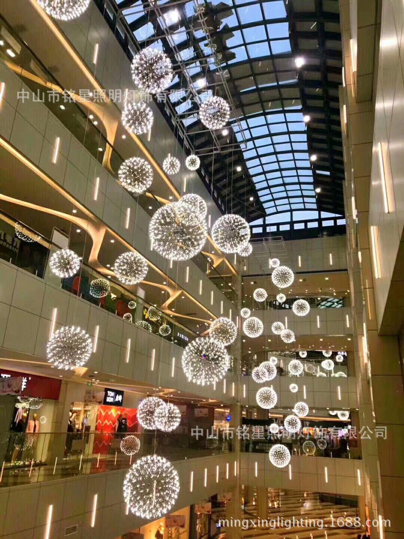 中庭吊灯厂家 商场中厅新款蒲公英灯 购物广场商业空间