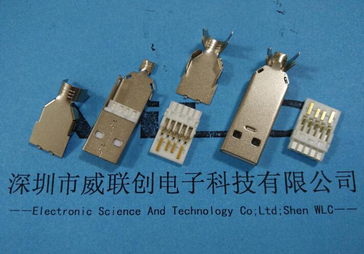 威联创直插USB母座 3.0/2.0 弯脚卷边AF 13.7mm示例图2