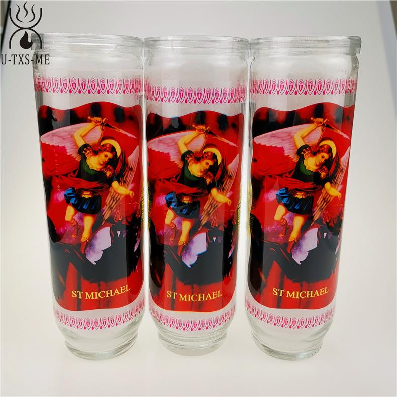 厂家直销无烟环保清香宗教玻璃瓶蜡烛 9天玻璃瓶教堂蜡烛烛台示例图4