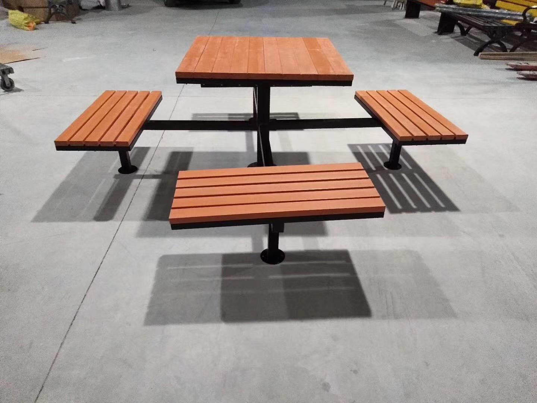 长期供应户外防腐木休闲椅 公园小区座椅 长椅 铸铁腿 实木 塑木示例图4