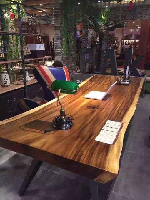 南美胡桃木实木大板餐桌胡桃木原木家具餐桌 南美花梨实木餐桌椅示例图24