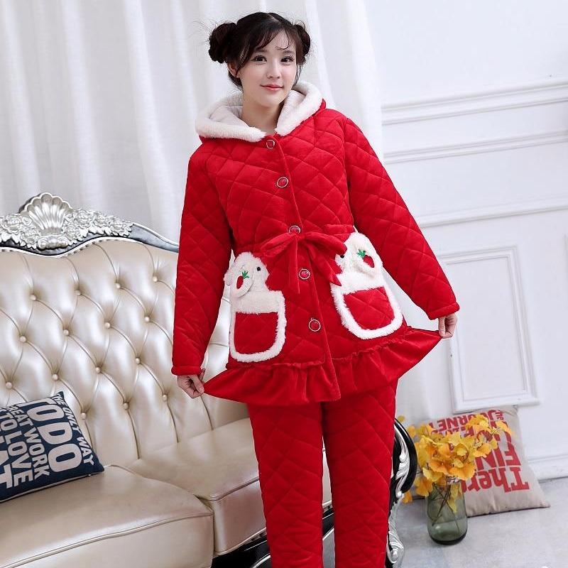2019冬季新款女式时尚可爱版三层加厚水晶绒家居服睡衣套装