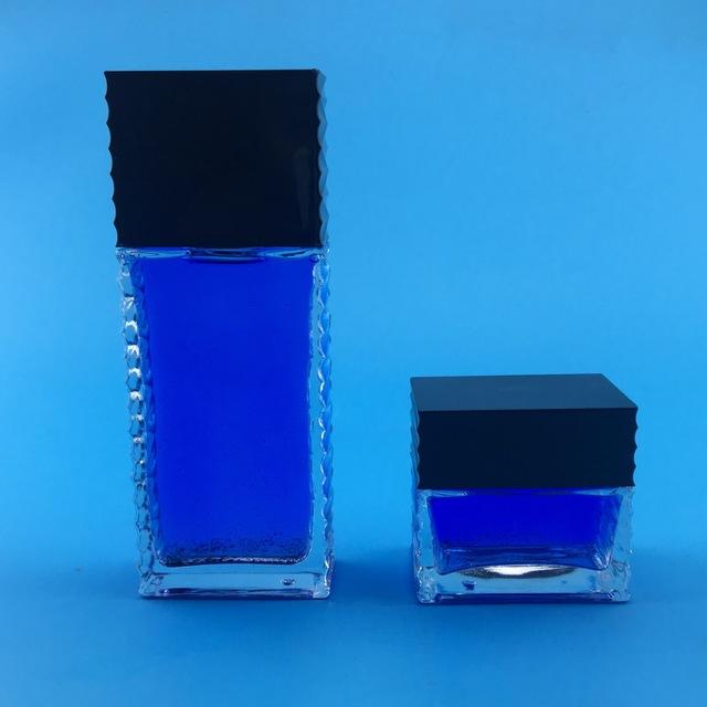 男士化妝品套裝瓶 億沅 60g方形玻璃膏霜瓶 120ml爽膚水瓶 乳液瓶 yyfxtzp