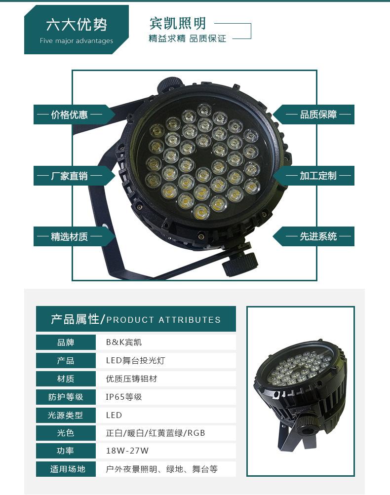 厂家直销室外防水 圆形18/36/54W大功率LED投光灯聚光LED舞台灯示例图2