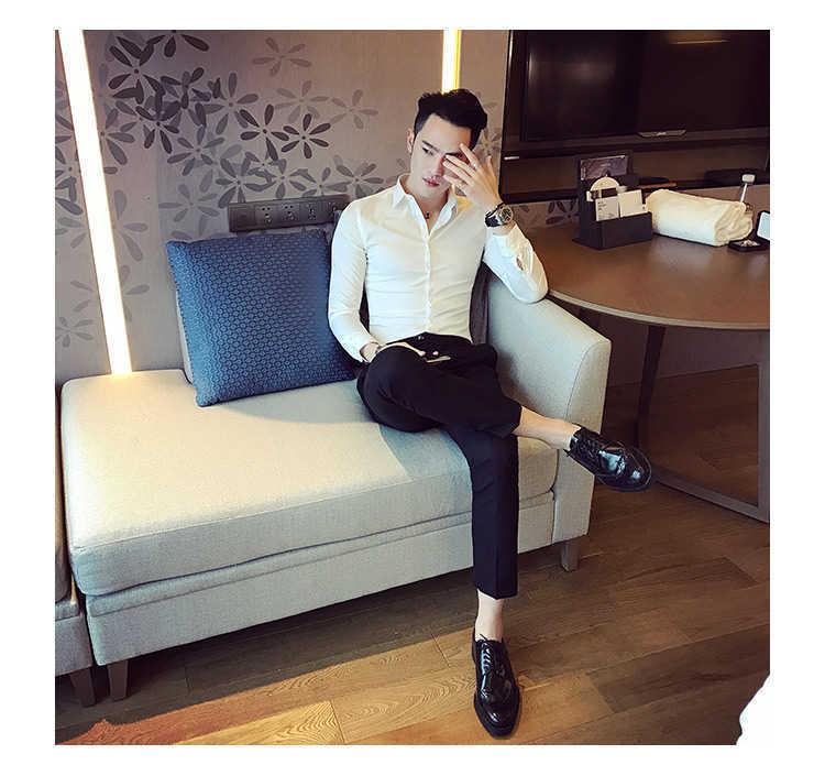 秋季男士长袖白色衬衫修身商务黑色衬衣网红社会潮流衬衫休闲韩版示例图18
