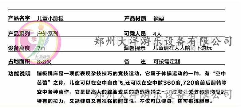 新款广场小型游乐设备小蹦极 郑州大洋专业生产4人蹦极游乐设备示例图9