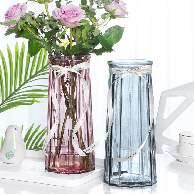 歐式創意玻璃花瓶水培綠蘿植物干鮮花插花瓶器皿餐廳客廳裝飾擺件