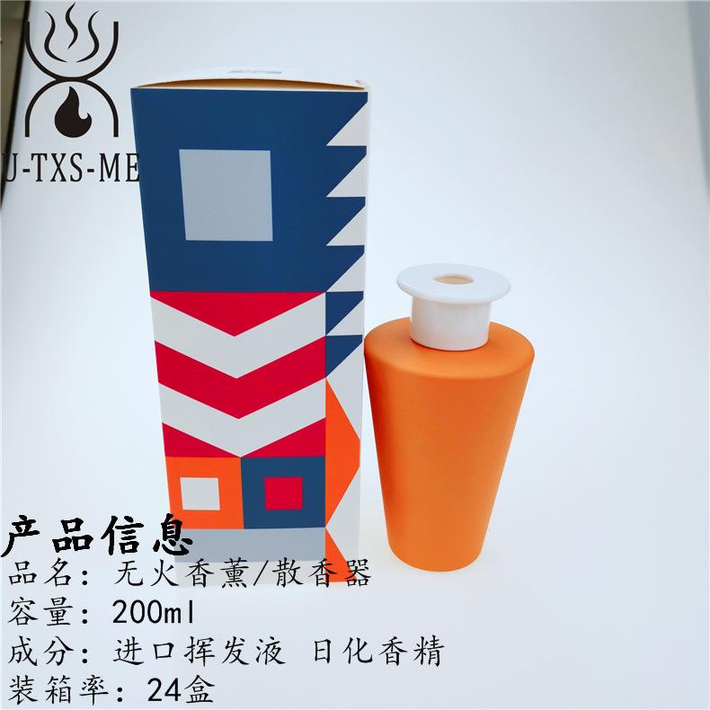 厂家定制新款锥形玻璃瓶家居植物精油环保藤条散香器无火香薰示例图2