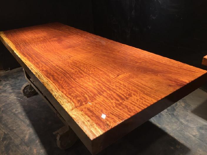 奥坎实木大板原木餐桌 中式茶桌 老板办公家具套装组合巴花大板示例图12