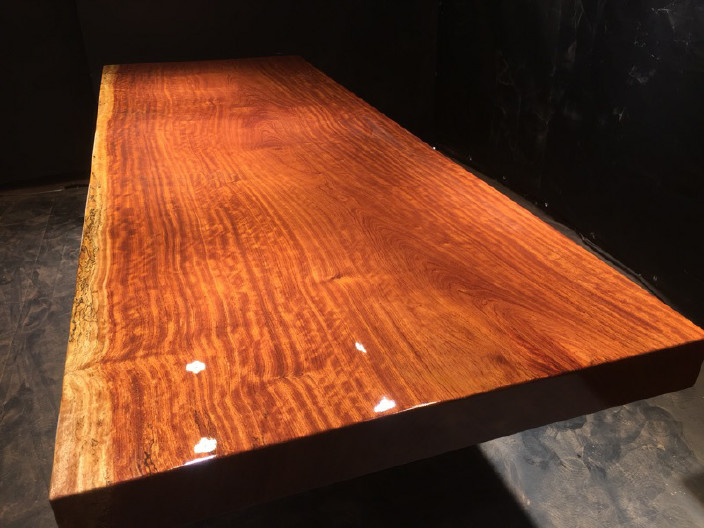 奥坎实木大板原木餐桌 中式茶桌 老板办公家具套装组合巴花大板示例图17