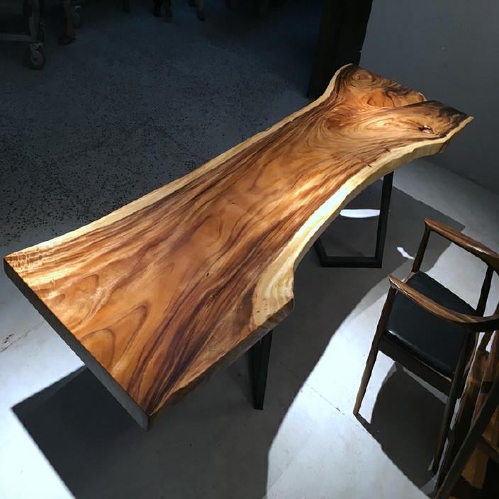 南美胡桃木实木大板餐桌胡桃木原木家具餐桌 南美花梨实木餐桌椅示例图13