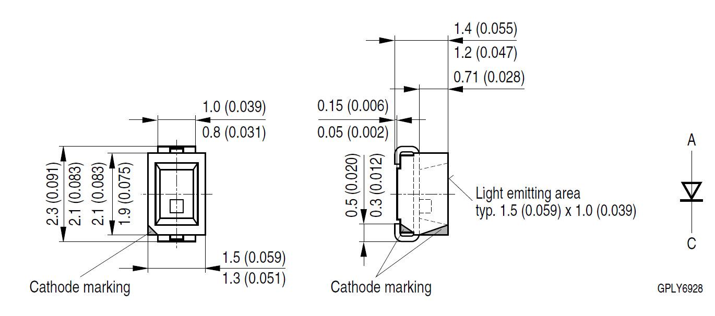 LYM67K-J1L2-26,欧司朗0805陶瓷灯,黄色黄光,590nm,仪表盘背光示例图1