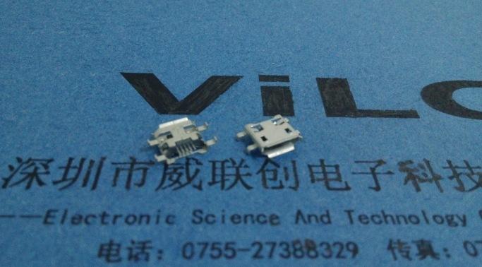 180度SMT全贴micro母座 5P USB有柱带焊点 焊脚打孔 加强焊锡示例图3