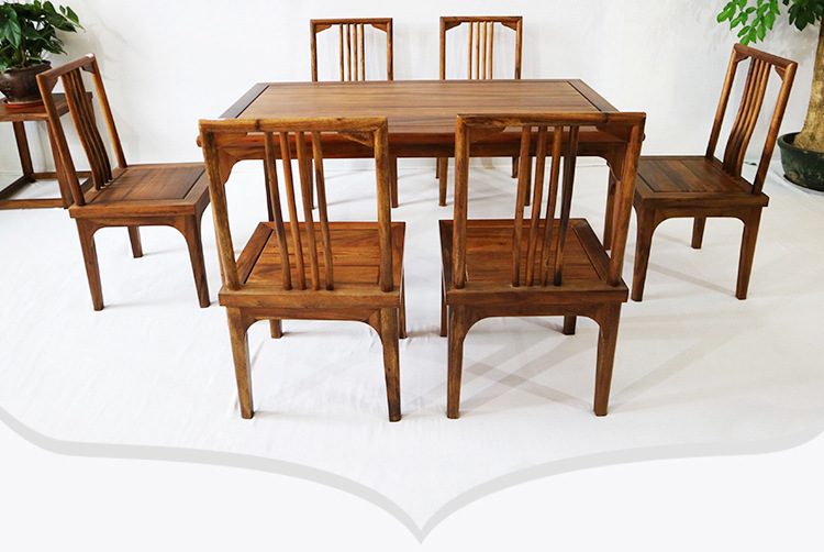 新中式餐桌榫卯工艺胡桃木餐桌7件套 批发竞技宝和雷竞技哪个好简约餐桌餐椅组合款示例图12