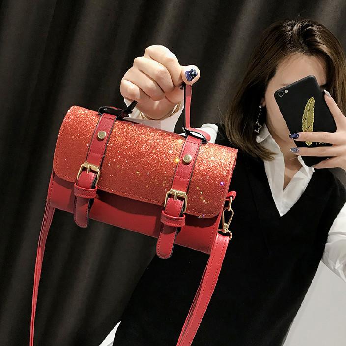 時尚亮片手提小包2018新款韓版枕頭包百搭斜挎女包包潮小圖片