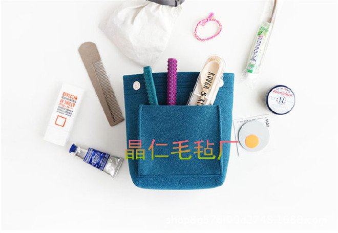 2018新款时尚纯色毛毡手提包中包 杂物整理收纳包 化妆包定制示例图4