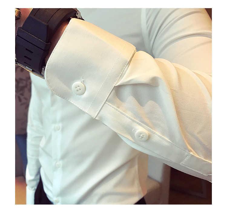 秋季男士长袖白色衬衫修身商务黑色衬衣网红社会潮流衬衫休闲韩版示例图15