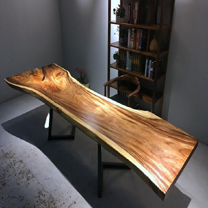 南美胡桃木实木大板餐桌胡桃木原木家具餐桌 南美花梨实木餐桌椅示例图16