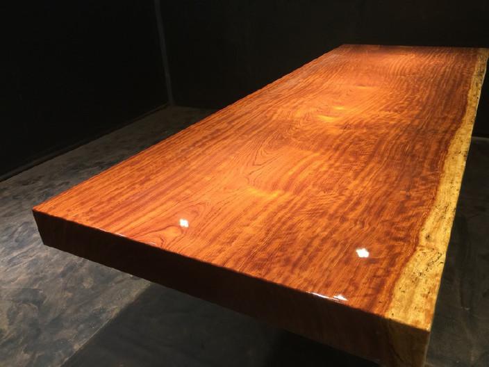 奥坎实木大板原木餐桌 中式茶桌 老板办公家具套装组合巴花大板示例图10