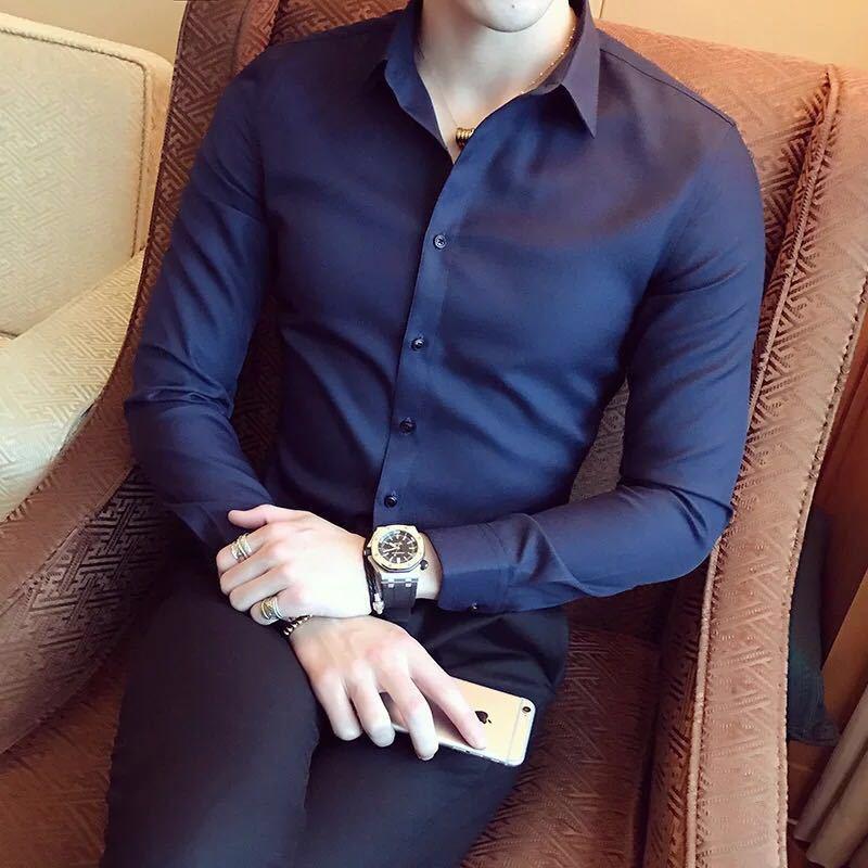 秋季男士长袖白色衬衫修身商务黑色衬衣网红社会潮流衬衫休闲韩版示例图8