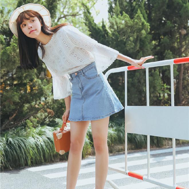 实拍女装夏季2017新款学院风牛仔短裙 a字牛仔半身裙一件代发B016