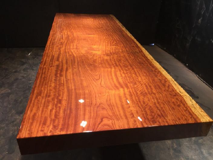 奥坎实木大板原木餐桌 中式茶桌 老板办公家具套装组合巴花大板示例图15