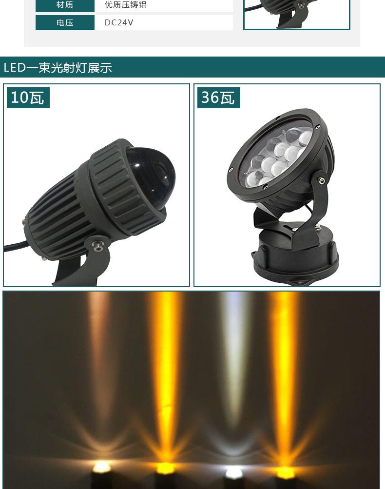 厂家直销室外防水 圆形18/36/54W大功率LED投光灯聚光LED舞台灯示例图8