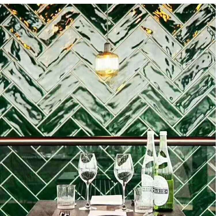 北欧墨绿面包砖75x300波纹砖 厨房卫生间墙砖厨卫地铁砖特色民宿瓷砖