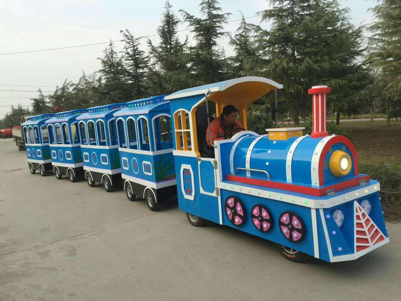 2020销售火爆儿童仿古观光小火车 大洋户外游乐无轨观光火车项目游艺设施厂家设备示例图8