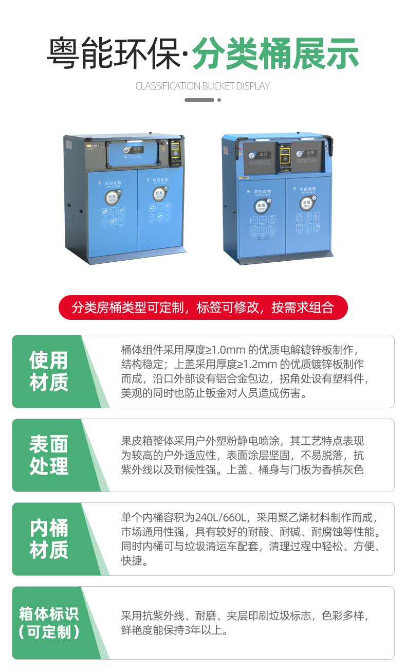 多重身份識別粵能YN--1480P小區智能垃圾桶  品牌垃圾分類回收箱示例圖10