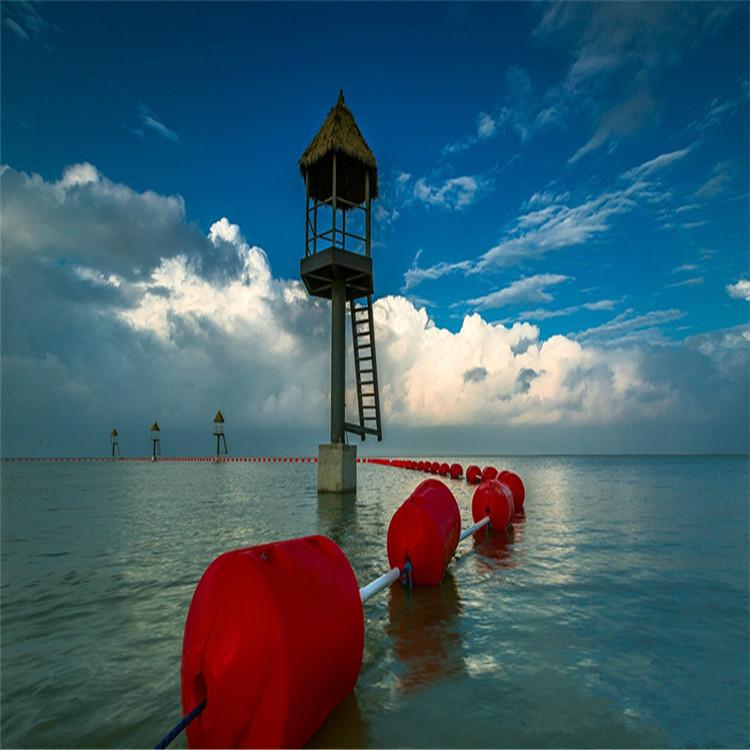 河道水面漂浮泡沫拦污浮排 游乐园水上安全区域隔离警示浮筒 水下漂浮物挂网拦截浮筒