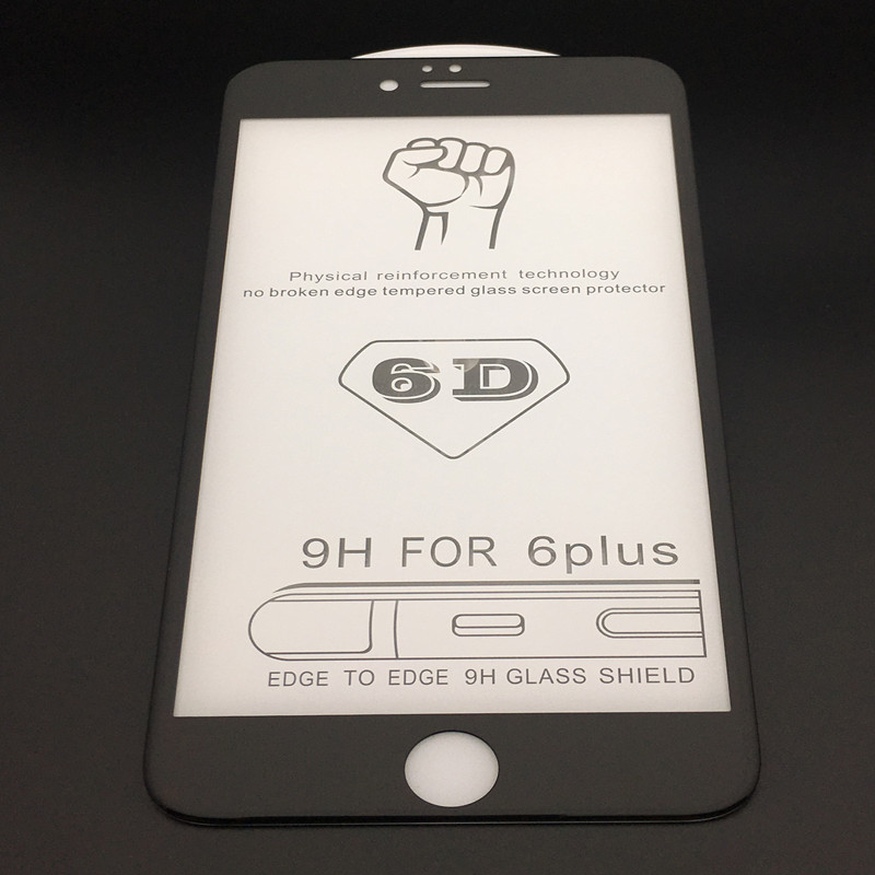 iPhone6plus冷雕鋼化膜 蘋果6手機6D玻璃貼膜 全屏曲面鋼化膜批發