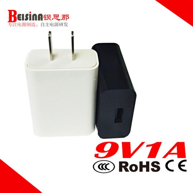 厂家9V1A白色插墙式开关电源  9V1000MA USB电源适配器