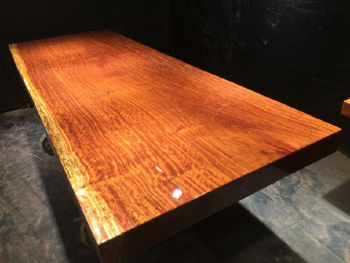 奥坎实木大板原木餐桌 中式茶桌 老板办公家具套装组合巴花大板示例图16