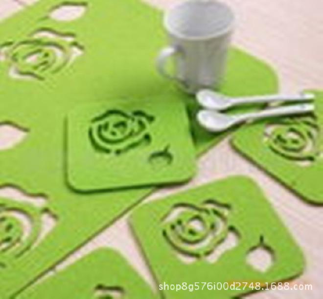 供应毛毡杯垫彩色隔热垫 吸水防滑餐垫镂空杯垫 颜色图案可定制示例图3