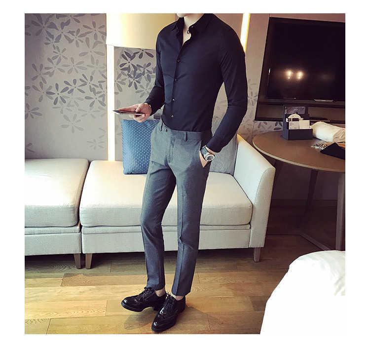 秋季男士长袖白色衬衫修身商务黑色衬衣网红社会潮流衬衫休闲韩版示例图11