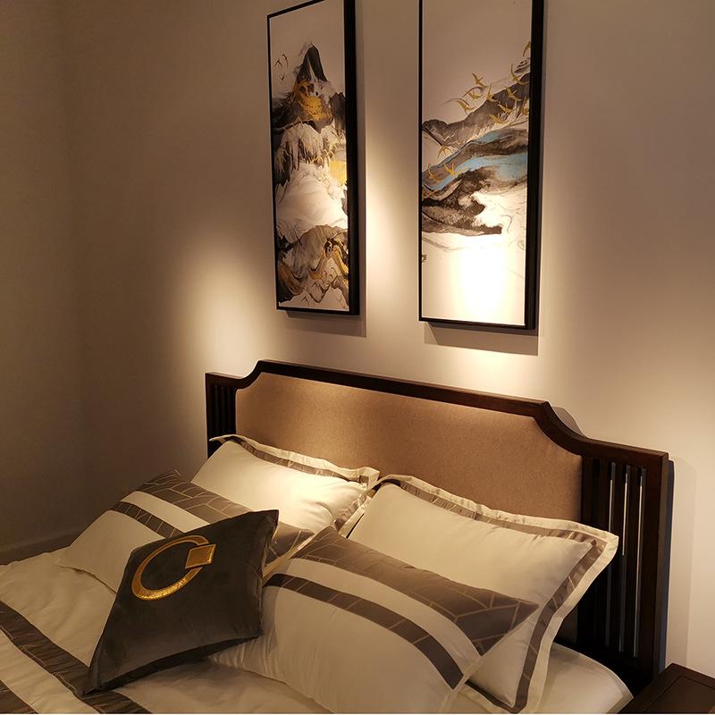 现代新中式竞技宝和雷竞技哪个好床 简约卧室双人床 大婚床乌金木雷竞技靠谱吗 可定制示例图3