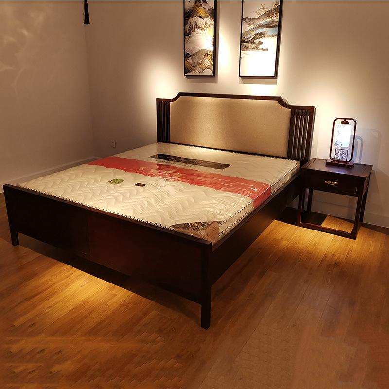 现代新中式竞技宝和雷竞技哪个好床 简约卧室双人床 大婚床乌金木雷竞技靠谱吗 可定制示例图1