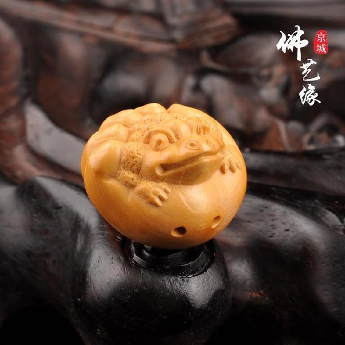 天然黄杨木雕刻金蟾吊坠 手机 车挂件 金刚 星月菩提佛珠DIY配饰
