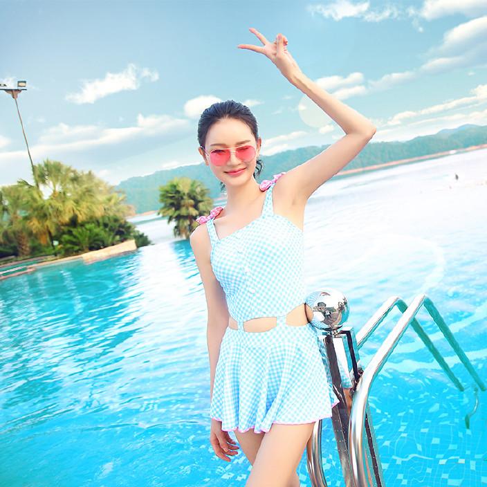 夏克连体泳衣女裙式小清新游泳衣小胸聚拢显瘦遮肚保守温泉泳装